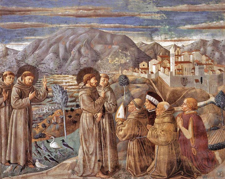 Saint Francis di Assisi preaches to the birds, Gozzoli's Life of S. Francis, San Francesco Montefalco 1452