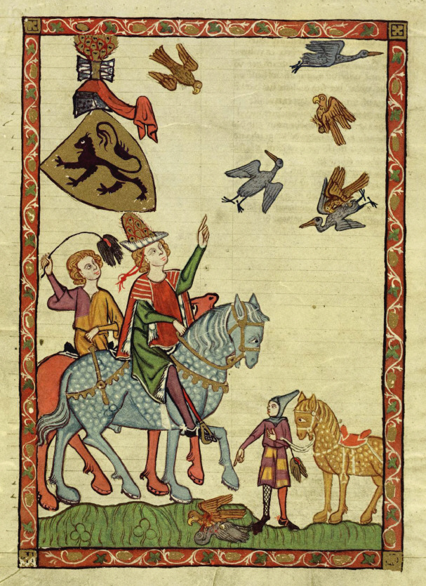 Medieval people engaging in falconry from horseback