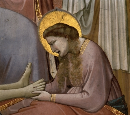 'Lamentation of Christ', detail of Mary Magdalene by Giotto di Bodone