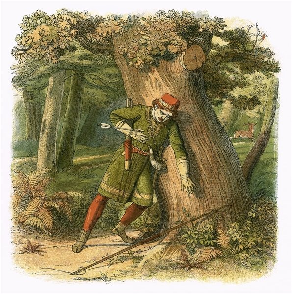 The death of the King William II, allegedly killed accidentally during the hunt in New Forest