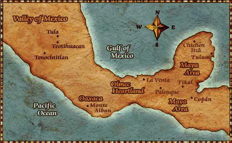 The map of ancient Central America