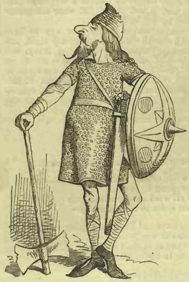 Anglo-Saxon warrior, illustration from Punch magazine