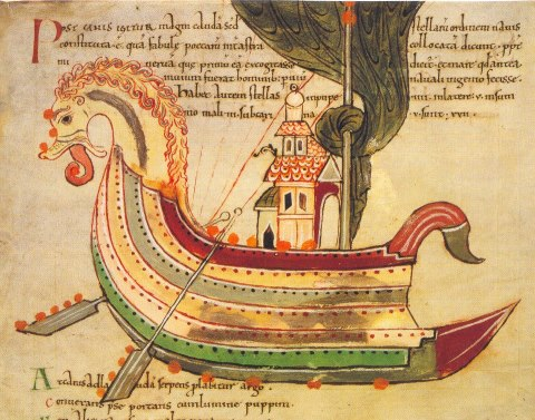 A painting of a Viking longship from a 10th C. Anglo-Saxon manuscript (unknown)