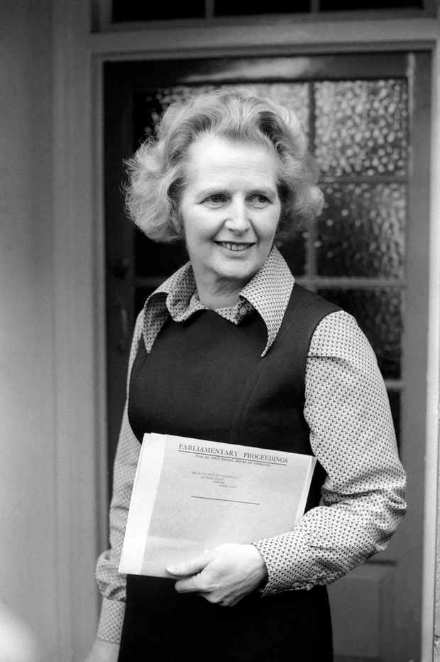 Margaret Thatcher outside her home morning after her victory