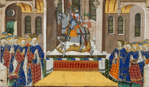 Altar with St George and the dragon presented to Margaret of Anjou, wife of king Henry VI, by the Earl of Shrewsbury