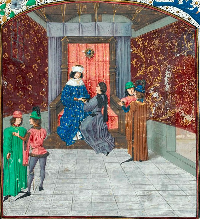 Edward IV receiving the book from Jean de Wavrin