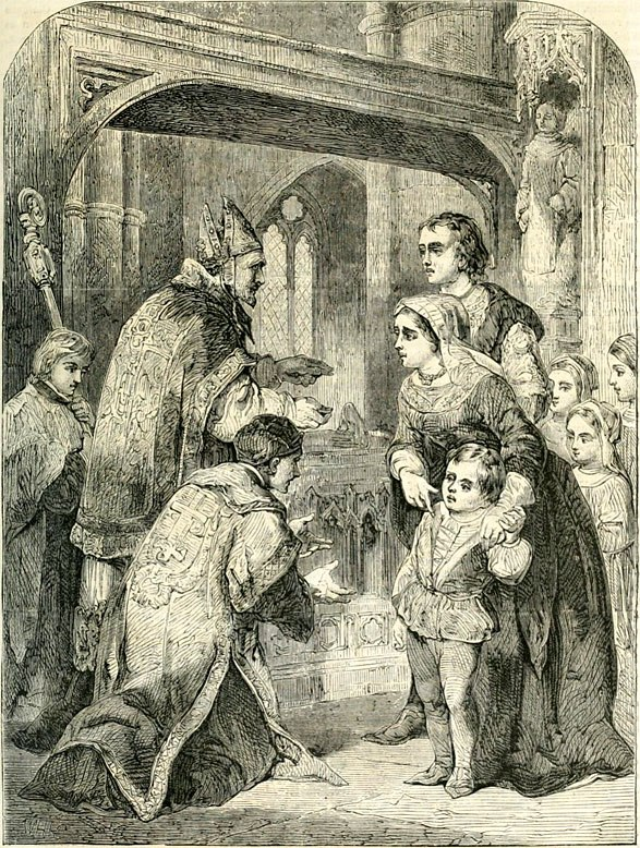 Elizabeth Woodville and her children taking sanctuary at Westminster