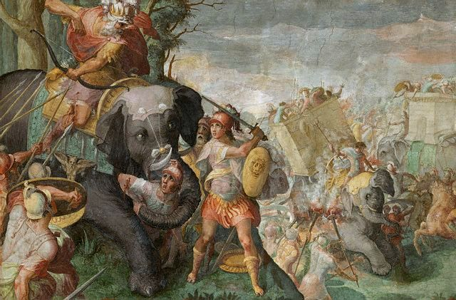 Hannibal Fighting a Roman Legion in the Alps by School of Raphael --- Image by © Araldo de Luca/CORBIS