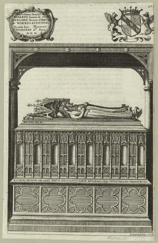 Tomb of King Richard II and Anne of Bohemia in Westminster Abbey by Richard Gaywood, etching, 1665