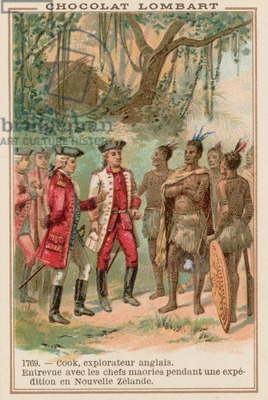 Captain James Cook meeting with Maori chiefs in New Zealand, 1769