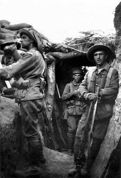 Infantry from the Australian 1st Brigade in a captured Turkish trench at Lone Pine, 6 August 1915, during the Battle of Gallipoli