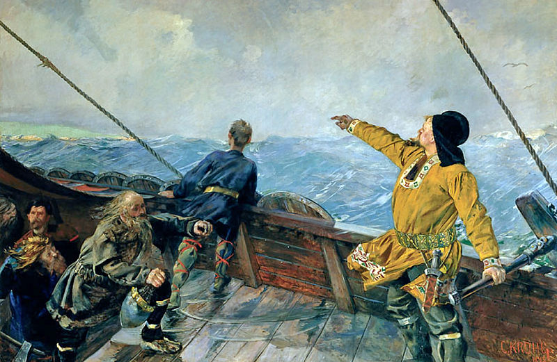 Leiv Eiriksson discovers North America, by Christian Krohg 1893