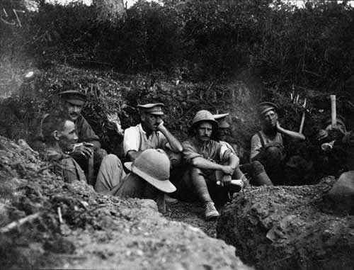 Soldiers waiting in a trench at Gallipoli