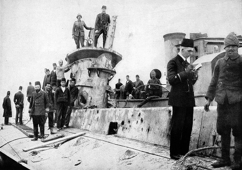 Wreck of the British submarine E15 being inspected by Turkish and German soldiers.