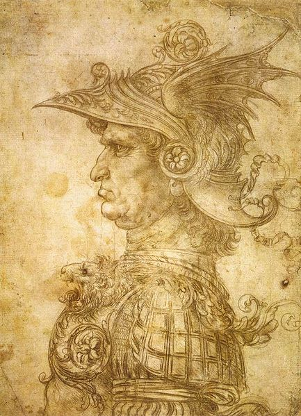 "Leonardo da Vinci's ""Profile of a warrior in helmet"", also known as ""Il Condottiere"", circa 1472"