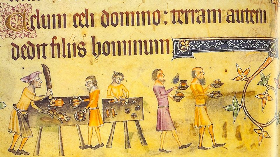 An angry chef with a big knife, from The Luttrell Psalter, 1325-1335