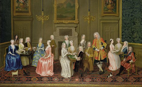 Courtiers having tea at Lord Harrington's house