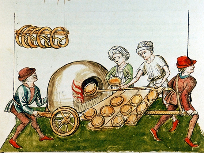 A drawing of a medieval pie baker, circa 1465-1475