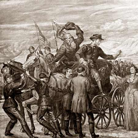 Returning from the Battle of Bear River, a painting glorifying the Anglo victory over the Shoshone. The central figure with the hat in his hand is Orrin Porter Rockwell.