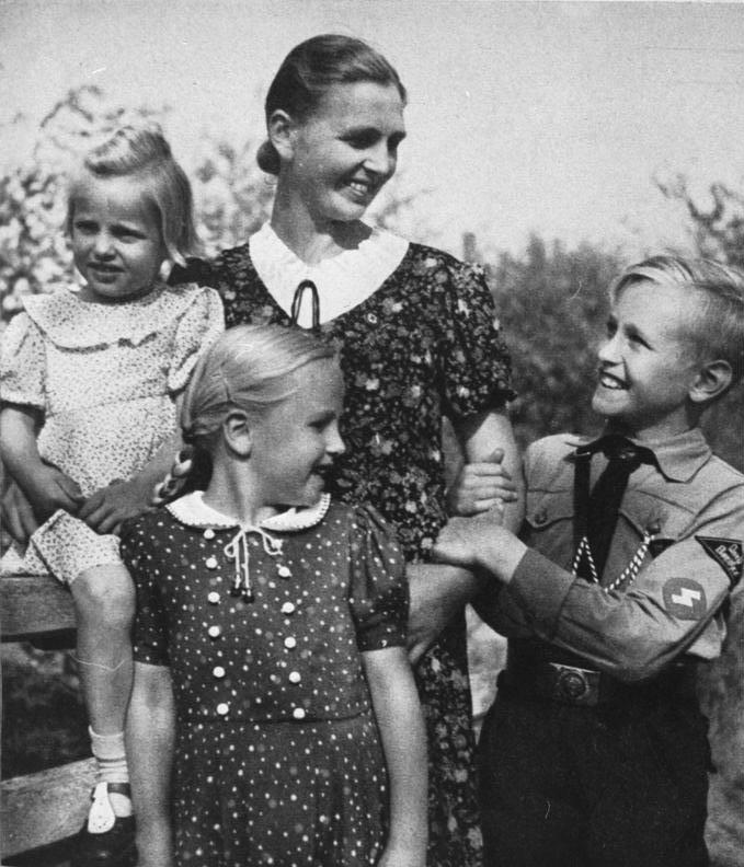 German woman with her children