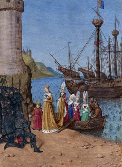 Isabella landing in England with her son, the future Edward III in 1326