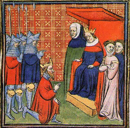 John Balliol, King of Scotland, offers homage to King Edward I of England, 1292. Chroniques de France ou de St Denis, illuminated manuscript
