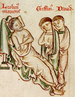 Llywelyn the Great on his deathbed with his sons, Dafydd and Gruffudd