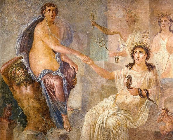 Temple of Isis in Pompeii - Io and Isis frescoe