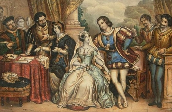 Lady Jane Grey and Lord Guildford Dudley, 19th century polychrome print