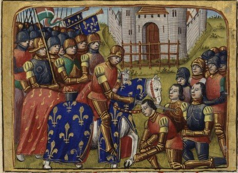 Unidentified knights being dubbed by Charles VII, 1484