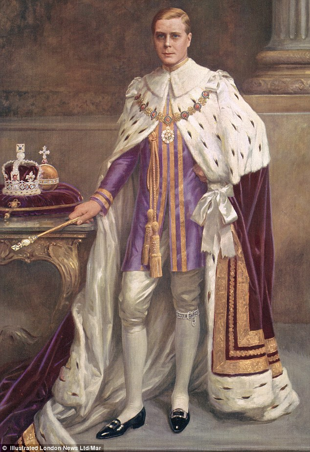 Edward VIII in royal robes, A copy was only discovered after the publishers moved offices and it is believed the original portrait by Albert Collings was lost in the war