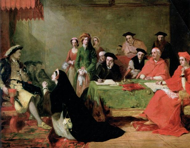 Catherine pleading her case against divorce from Henry. Painting by Henry Nelson O'Neil