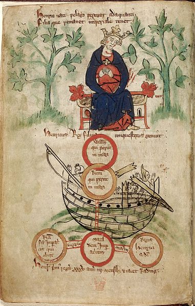 Early 14th century depiction of King Henry I and sinking of White Ship