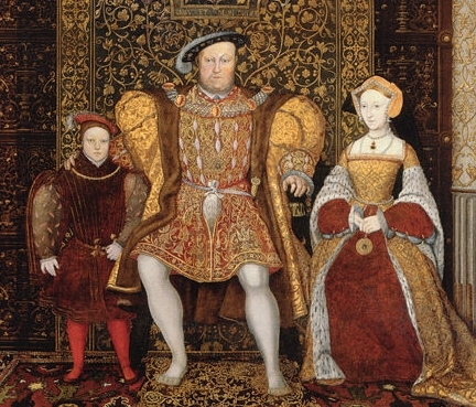 Portrait of Henry, Jane and their son Edward painted post-humously by Hans Holbein
