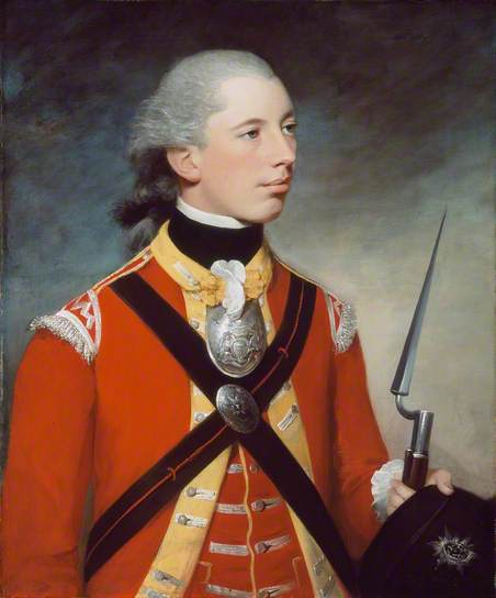 Captain Thomas Hewitt, 10th Regiment of Foot, by William Tate. Captain Hewitt holds his socket bayonet