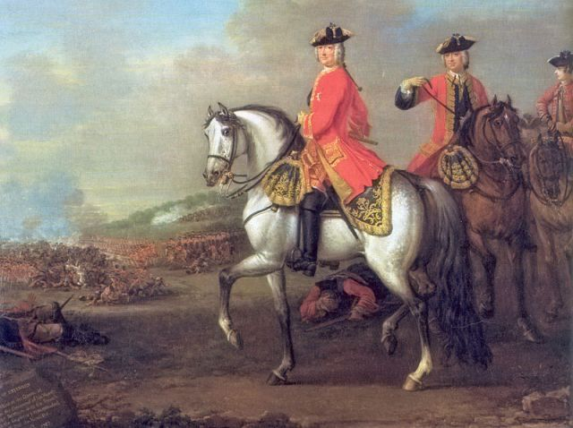 Portrait of King George II at the Battle of Dettingen in 1743