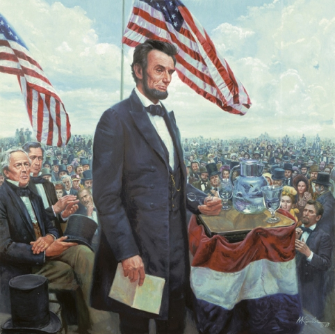 Lincoln speaking at Gettysburg