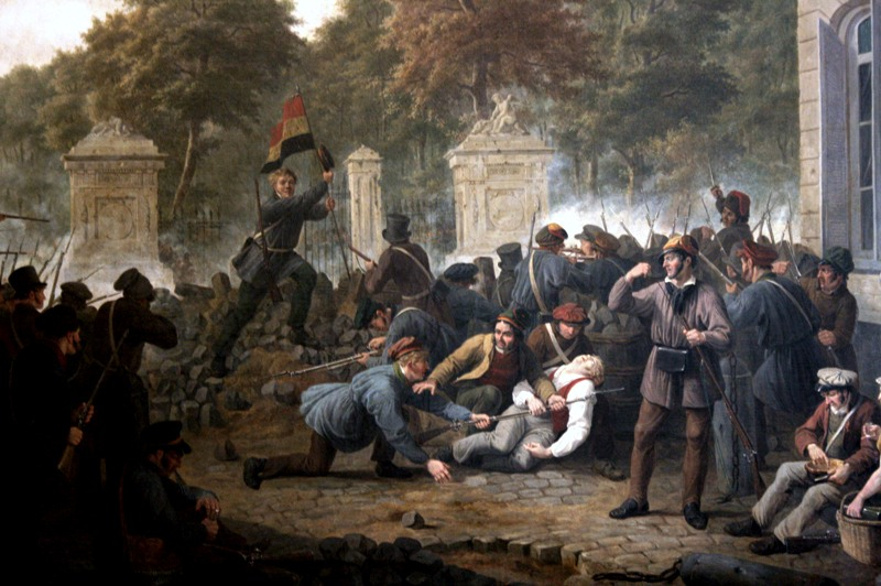 Belgian rebels on the barricade of the Place Royale facing the Parc de Bruxelles in Brussels (1830)