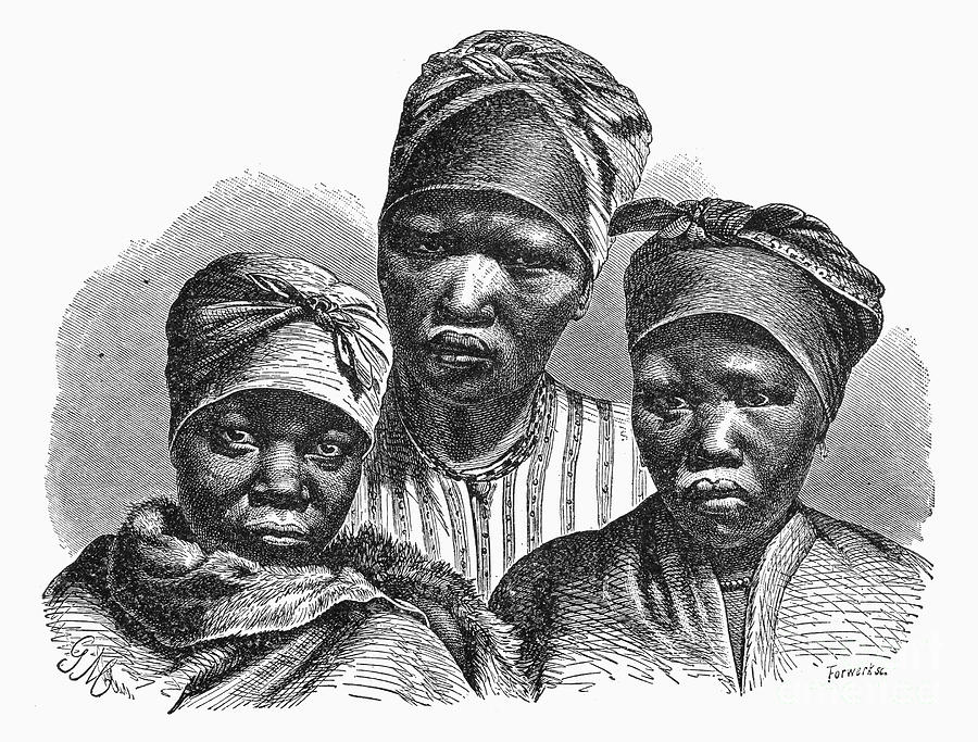 Khoikhoi (Hottentot) women from South Africa, Wooden engraving 19th century.
