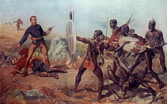 Lieutenants Melvill and Cooghill (24th Regiment) dying to save Queen's colours. An Incident at the Battle of Isandlwana.