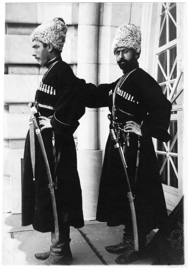 Imperial Russian Army - Cossacks each wearing 1910 model Papakha hat with wool top.