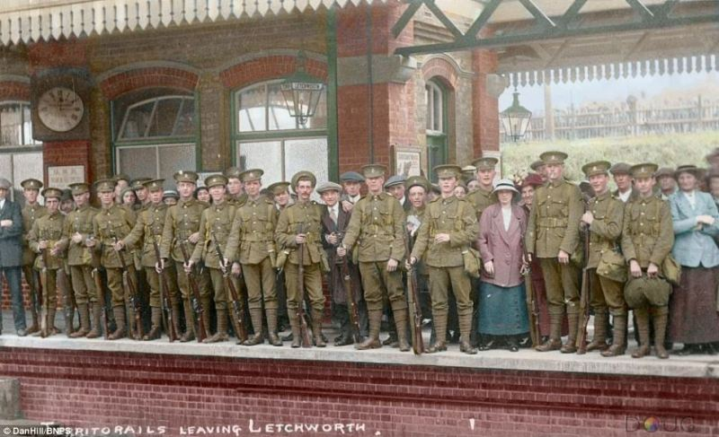 This photograph shows in vivid detail a group of Territorial soldiers leaving a train station in Letchworth Hertfordshire. The Territorial Army is now known as the Army Reserve