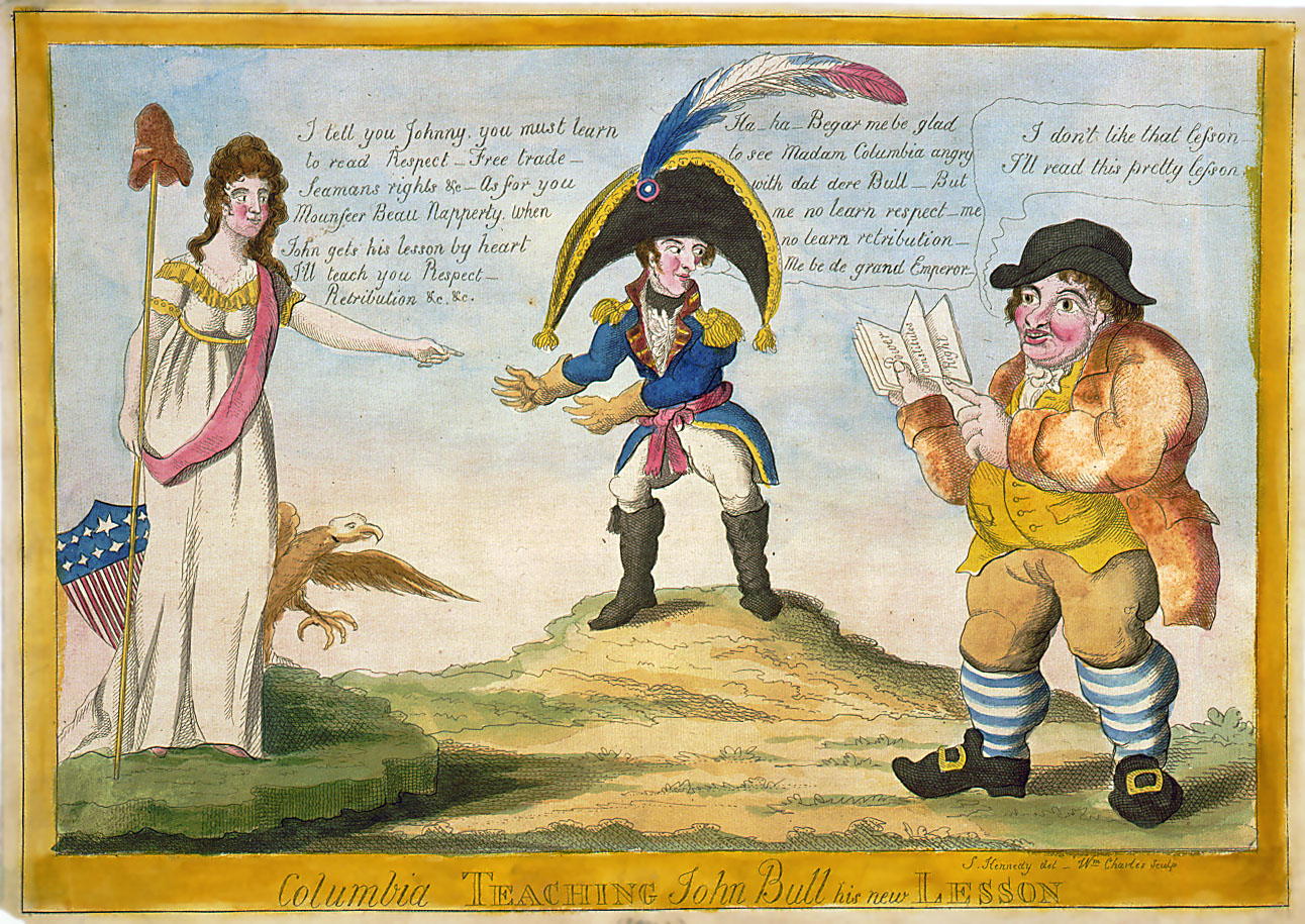 """""""Columbia Teaching John Bull his New Lesson"""", a ca. 1813 caricature presenting a U.S. view of the War of 1812."""