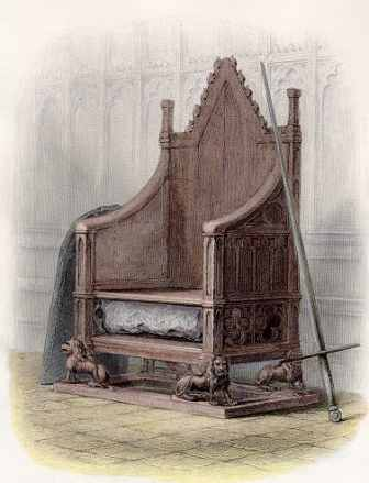 The coronation chair containing the Stone of Destiny