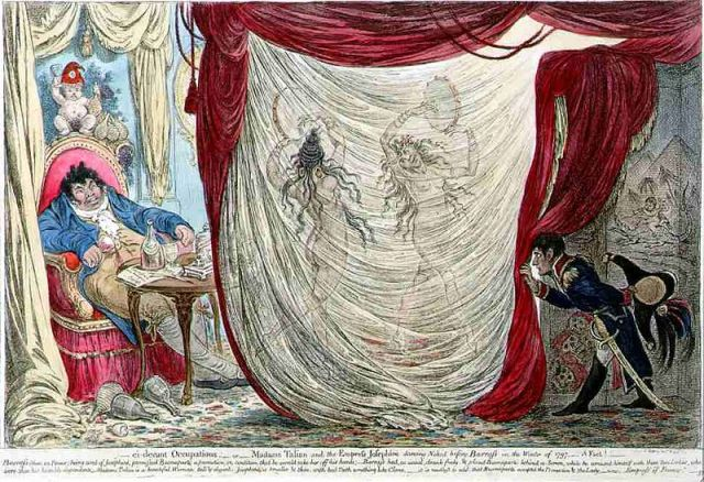 James Gillray's caricature of 1797,  Paul Barras being entertained by the naked dancing of two wives of prominent men, Tallien and Bonaparte