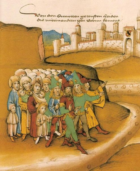 First arrival of Gypsies outside the city of Berne, by Diebold Schilling, 1485
