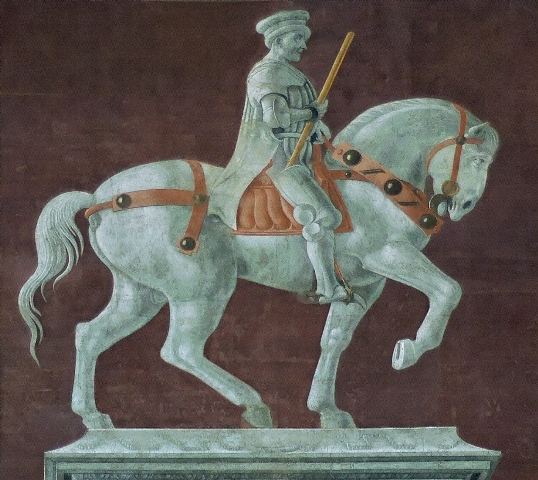 Detai of the funerary monument to Sir John Hawkwood: the fresco by Paolo Uccello