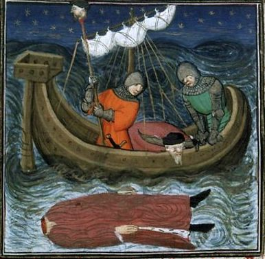 The death of Pompey illustrated in the medieval manuscript
