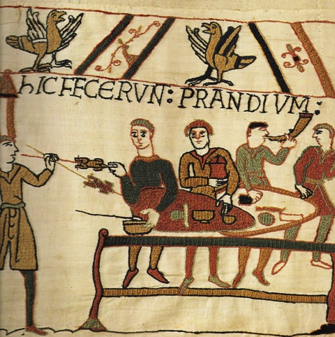 Food preparation showed in Bayeux Tapestry (notice the table improvised from shields)