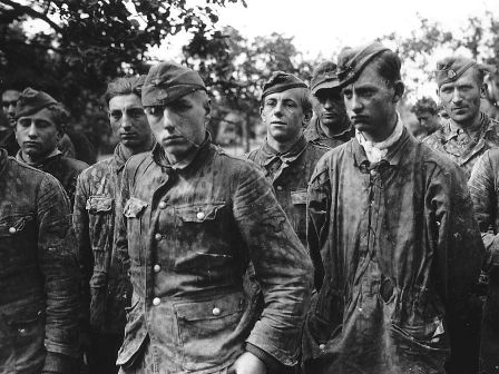German boy soldiers of the Waffen SS, taken prisoner in Normandy